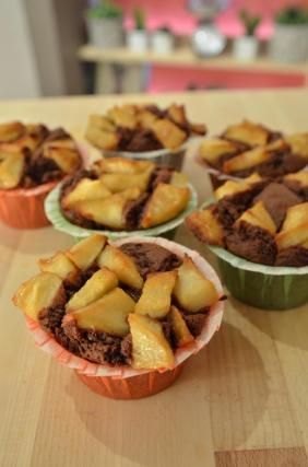 fondant au chocolat a la compote de pomme