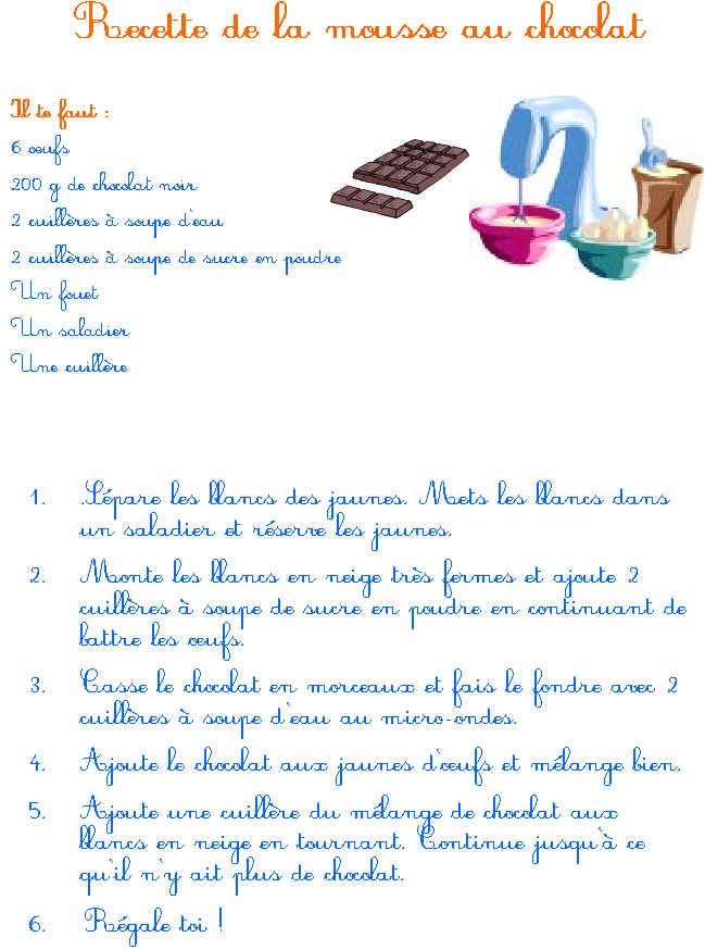 mousse au chocolat 1 an
